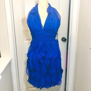 Calvin Klein Blue Ruffle Halter Dress Sz 2 NWT